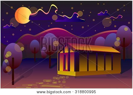 Vector Illustration Of Night Time Nature Landscape With House, Sky, Crescent Moon And Falling Stars.