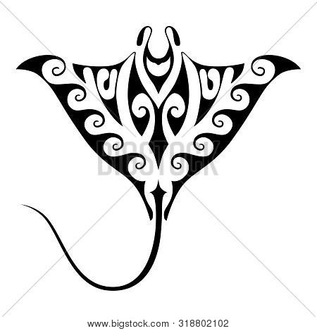 Manta Ray Graphic Symbol. Stingray Sign Isolated On White Background. Tattoo With Polynesian Style E