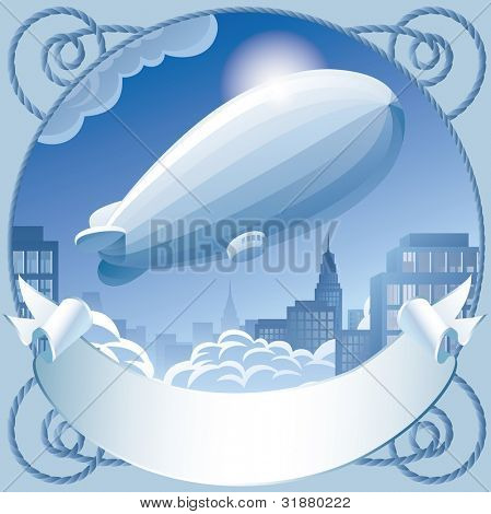 Raster version of retro label with a zeppelin in sky flying over the town