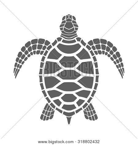 Sea Turtle Graphic Icon. Sea Turtle Gray Sign Isolated On White Background. Tattoo. Vector Illustrat