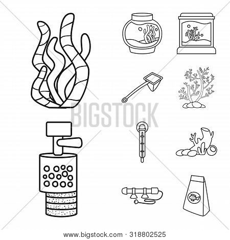 Vector Illustration Of Fishbowl And Accessory Sign. Set Of Fishbowl And Care Vector Icon For Stock.