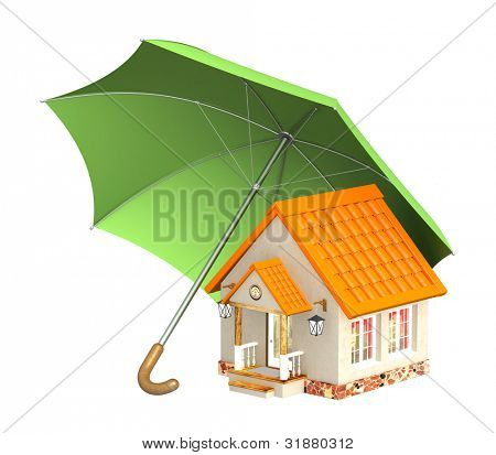 Concept - home insurance. Objects isolated over white