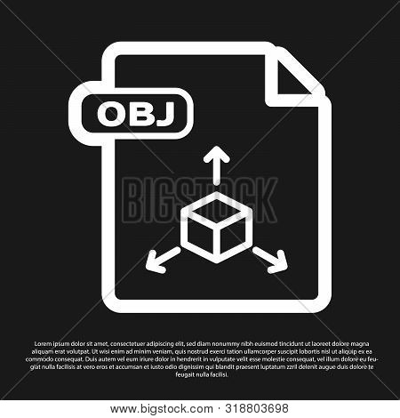 Black Obj File Document. Download Obj Button Icon Isolated On Black Background. Obj File Symbol. Vec