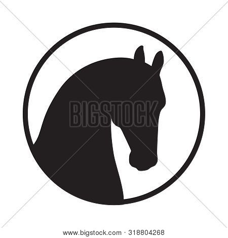 Head Horse Sign. Horse Icon. Isolated Silhouette Head Horse In The Circle On White Background. Logo.