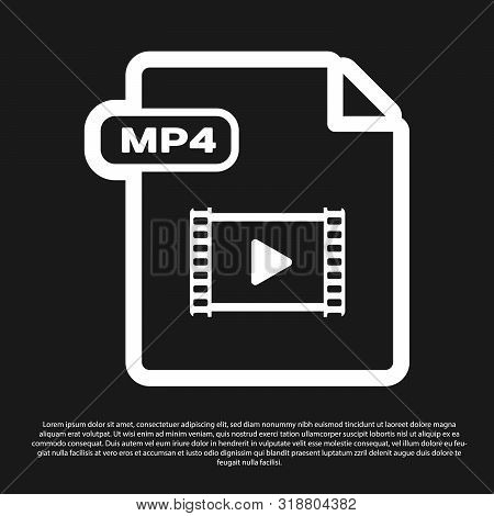 Black Mp4 File Document. Download Mp4 Button Icon Isolated On Black Background. Mp4 File Symbol. Vec