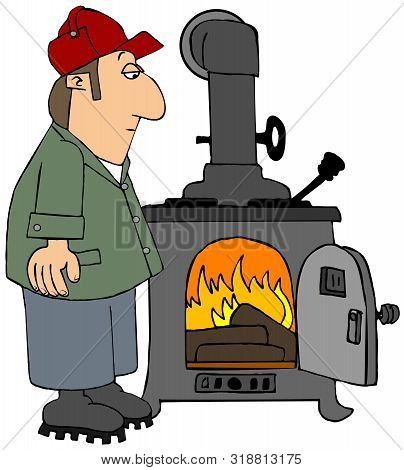 Illustration Of A Folksy Man Keeping An Eye On His Blazing Wood Stove.