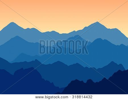 Vector Illustration Of Mountains Landscape At Dusk - Great Scenic Panorama For Travel Company With C