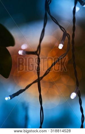 Colorful Glowing - Christmas Lights. Holiday Background. Macro