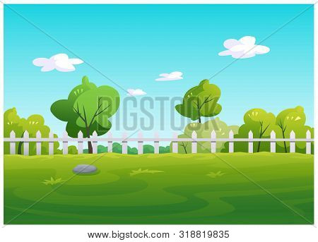 In The Garden Area There Are Green Grass Flooring With Wooden Fences And Shady Trees.