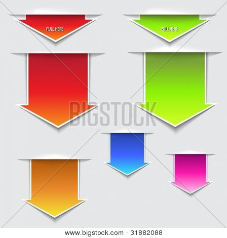 3D Pull Here Arrows - three dimensional paper slips in the shape of pull out arrows, in a variety of bright colors
