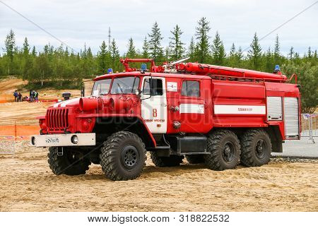 Novyy Urengoy, Russia - August 10, 2019: Offroad Firetruck Ural 4320 At The Countryside.
