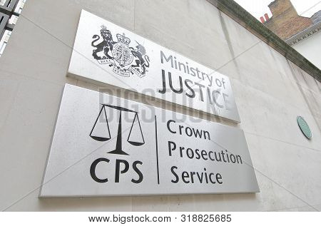 London England - June 4, 2019: Ministry Of Justice Office Sign Uk