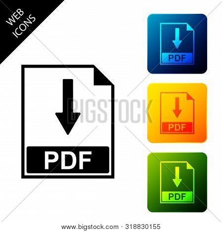 Pdf File Document Icon Isolated On White Background. Download Pdf Button Sign. Set Icons Colorful Sq