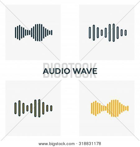 Audio Wave Icon Set. Four Elements In Diferent Styles From Audio Buttons Icons Collection. Creative