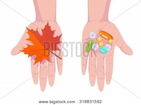 Pills, Tablets And Red Maple Leaf On Hands. Seasonal Depression And Antidepressants. Autumn Cold And