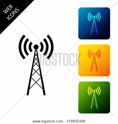 Antenna Icon Isolated On White Background. Radio Antenna Wireless. Technology And Network Signal Rad