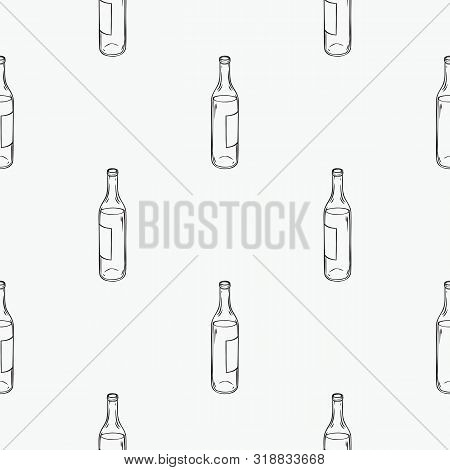 Seamless Pattern With Winebottles. Black Contours On A White Background For Coloring