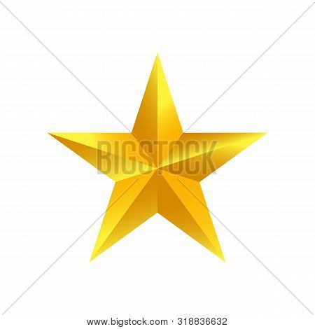 Gold Star Shape Isolated On White Background. Golden Star Icon. Gold Star Logo, Image Of Golden Star