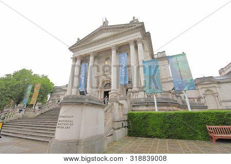 London England - June 4, 2019: Unidentified People Visit Tate Britain Museum London Uk