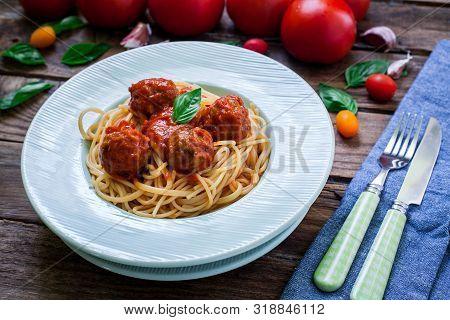 Homemade Italian Spaghetti With Meatballs On Tomato Sauce