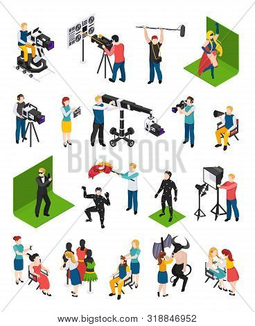Cinematography Isometric People Videographers With Camcorders Actors Director Illuminator Dresser An