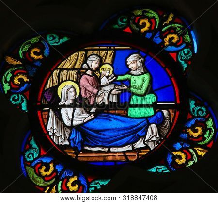 Saint-adresse, France - August 15, 2019: Stained Glass In The Chapel Of Notre-dame-des-flots (1857)