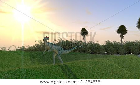 dilophosaurus in jungle poster