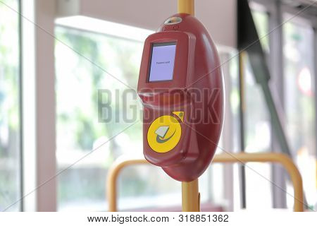 London England - June 5, 2019: Bus Fare Oyster Card Touch Machine London Uk