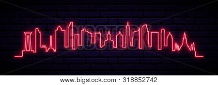 Red Neon Skyline Of Bangkok City. Bright Bangkok City Long Banner. Vector Illustration.