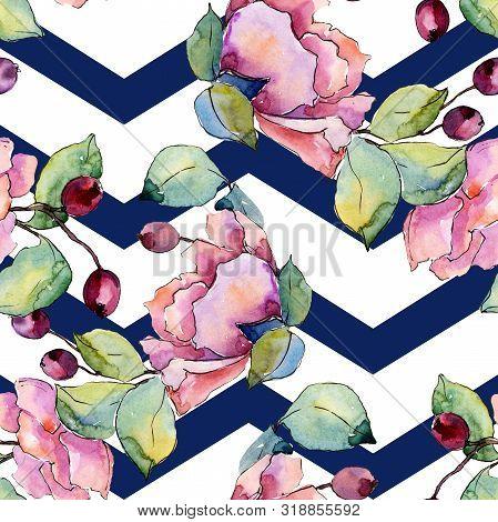 Bouquet Floral Botanical Flowers. Watercolor Background Illustration Set. Seamless Background Patter