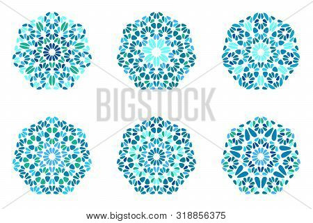 Isolated Abstract Ornate Stone Ornament Heptagon Polygon Set - Ornamental Geometrical Vector Graphic