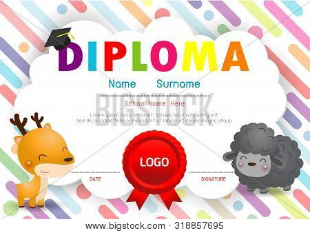 Certificate Kids Diploma, Kindergarten Template Layout Space Background Frame Design Vector. Prescho