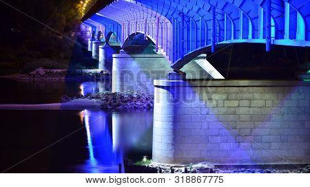 Warsaw, Poland. 25 August 2019. Slasko-dabrowskii Bridge In Night