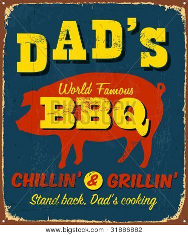 Vintage metal sign - Dad's BBQ - Vector EPS10. Grunge effects can be easily removed.
