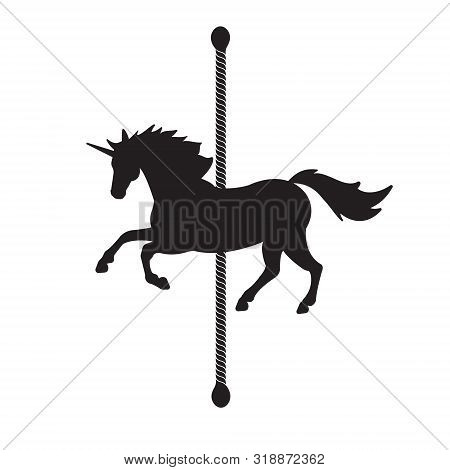 Vector Flat Black Horse Carousel Silhouette Icon Isolated On White Background