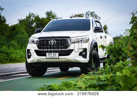 Bangkok Thailand - 25 August 2019 : New Toyota Hilux Revo Rocco White Pickup  Truck Offroad Car Doub