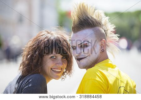 Belarus, The City Of Gimel, July 03, 2019. Youth Festival.guy Punk With A Beautiful Girl On A City S