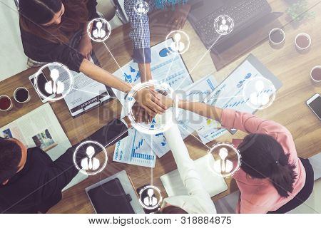 Teamwork And Business Human Resources - Group Of Business People Working Together As Successful Team