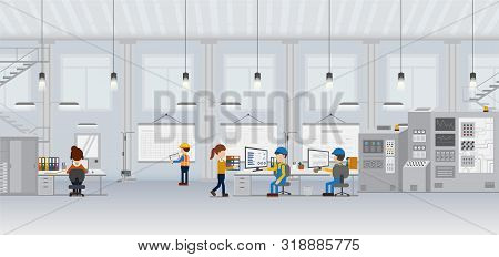 Factory In Process With Workers Working Flat Design Vector Illustration
