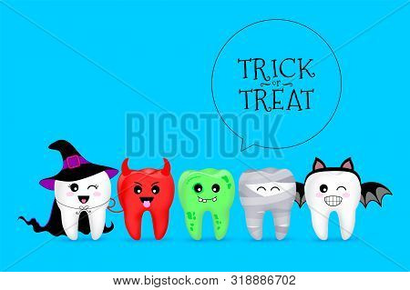 Cartoon Spooky Tooth In Halloween Costumes. Trick Or Treat, Halloween Concept. Illustration Isolated