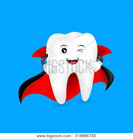Halloween Cartoon Tooth Cleaning Itself By Dental Floss. Count Dracula, Funny Dental Care Concept. I