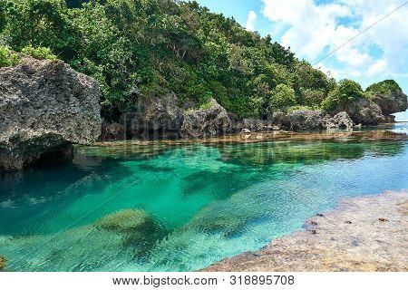 Philippines, Siargao Island, 22.july.2019.: Tourists Visit Magpupungko Natural Rock Pools In Siargao