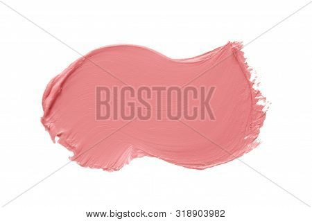 Matte Lipstick Texture. Pink Creamy Makeup Product Smear Smudge Swatch Isolated On White Background.