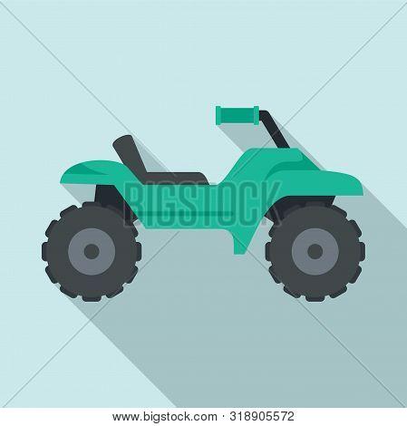 Dirt Tire Quad Bike Icon. Flat Illustration Of Dirt Tire Quad Bike Vector Icon For Web Design