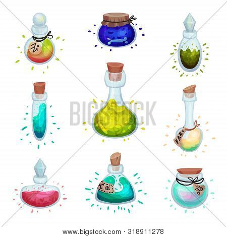 Set Of Glass Bottles Of Different Shapes With A Potion. Vector Illustration On A White Background.