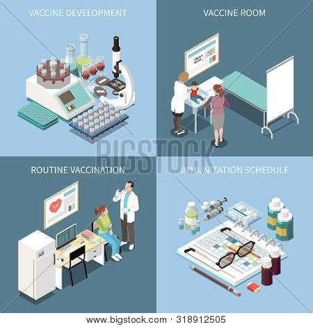 Vaccination 2x2 Design Concept Set Of Vaccine Development Vaccine  Room Routine Vaccination And  Imm