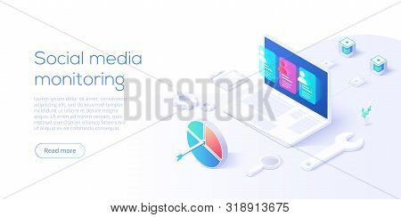 Social Media Monitoring Concept In Isometric Vector Design. Online Internet Marketing Analysis Or Bu