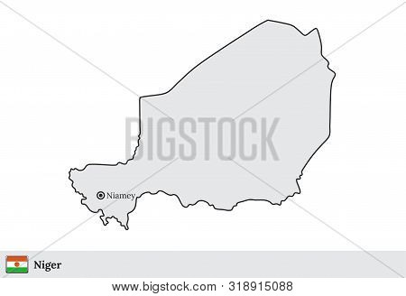 Niger Vector Map With The Capital City Of Niamey