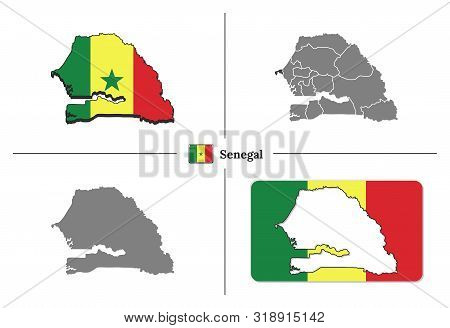 Map Of Senegal With National Flag And State Regions In Vector Set