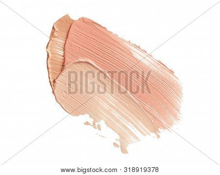 Color Corrector Strokes Isolated On White Background. Beige And Pink Color Correcting Cream Conceale
